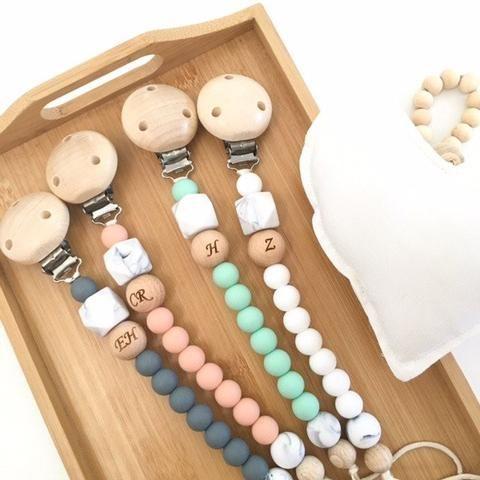 MONOGRAM Silicone Dummy Holder - Accessories - ONE.CHEW.THREE Boutique teething, modern accessories