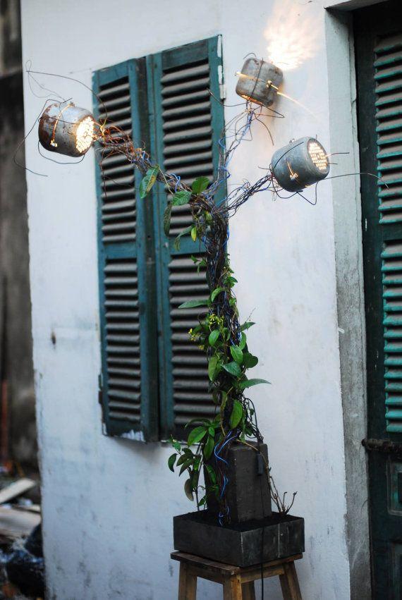 Cool Lampe b ton Lampe avec plante grimpante