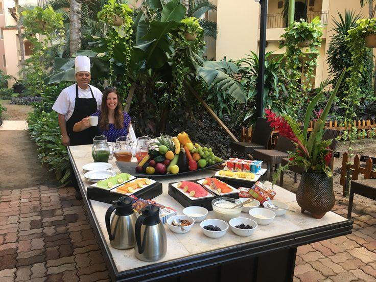 Breakfast at the Mesa del Huerto (garden area) at Villa del Palmar Flamingos. By reservation only.