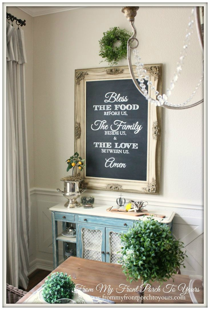 I love the idea of a prayer in the dining room!