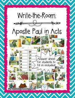 Acts Fact Bag and Write the Room for Paul in Acts @ www.biblefunforkids.com #Biblefun