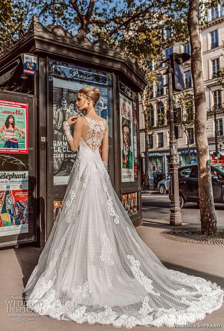 Victoria Soprano 2019 Bridal Long Sleeves Illusion Bateau Sweetheart Neckline Bateau Wedding Dresses Lace Beautiful Wedding Dresses Short Wedding Gowns [ 1084 x 736 Pixel ]