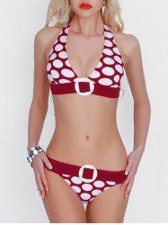 Halter Polka Dot Bikini Set - DEEP RED XL
