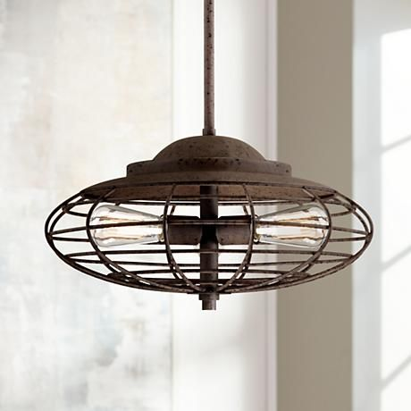 Metal cage 18 wide dark rust industrial pendant light