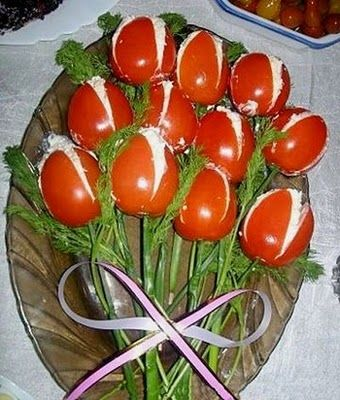 Tulip Tomatoes filled with chicken salad