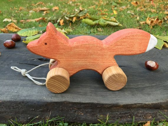 Big Wooden Toy Fox Pull Along Toy Birthday gift by WoodenFrogLV