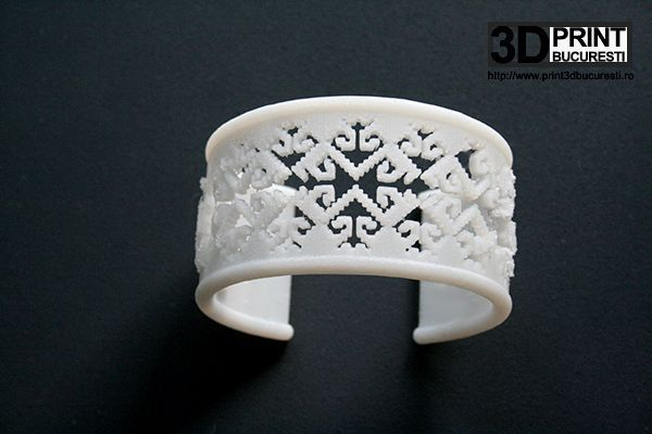 """""""Crow's feet""""bracelet. Its surface features a very old, folk stitch from Romania, Suceava area, known as """"crow's feet"""", inspired by nature and """"sculpted"""" in ABS as an expression of Romanian traditions intertwined with the special effects of the computerized world.  #bracelet #3dprinted #jewelrydesign"""