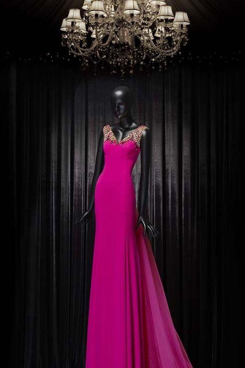 2016 ve 2017 için Butik dayı Abiye Elbise Modelleri  - Fuşya Pembe
