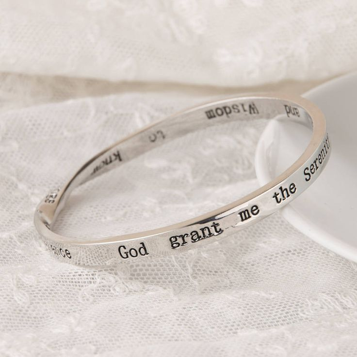Serenity Prayer Message Bangle Silver Plated from notonthehighstreet.com