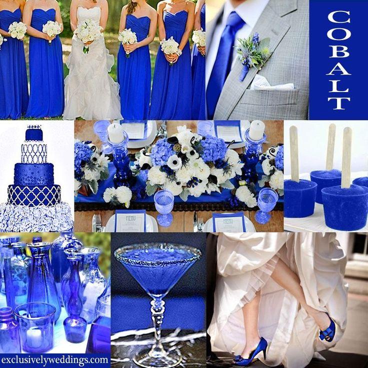 Cobalt blue wedding decor dream wedding stuff for Wedding dresses with royal blue accents
