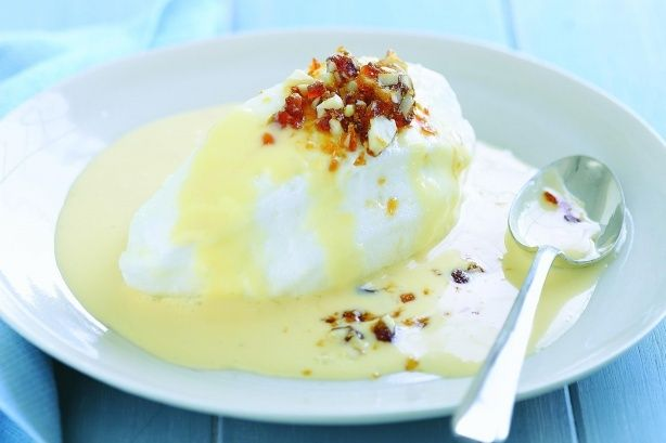 Could there be a more welcome addition to a floating meringue in custard than crunchy pieces of almond toffee? Non.