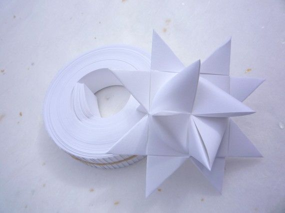 Origami Star Paper White DIY 50 Strips 3/4inch by theStarcraft, $2.69