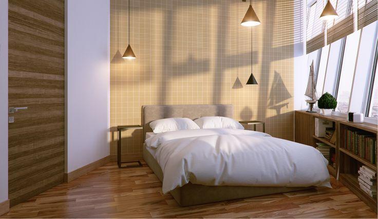 маленькая современная спальня, современный стиль, светлая комната, современные двери, деревянный пол, жалюзи на окнах