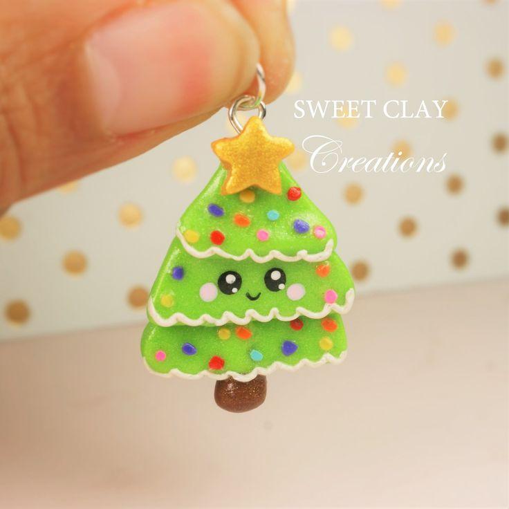 Christmas Tree Kawaii Charm Polymer Clay Handmade Jewelry by Sweet Clay Creations