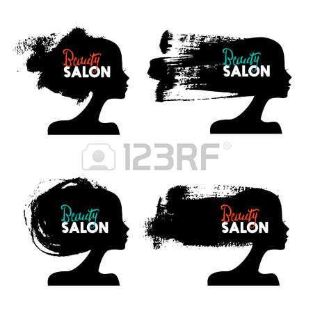 Set di bella ragazza sagome. Logo collezione di salone di bellezza delle donne. disegno spruzzata della vernice. illustrazione di vettore photo