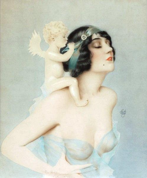 Ziegfeld Girl with Angel - by Alberto Vargas (Peruvian, 1896-1982) - Inscribed lower center: 'To Bill, Sincerely Alberto Vargas' - @~ Mlle