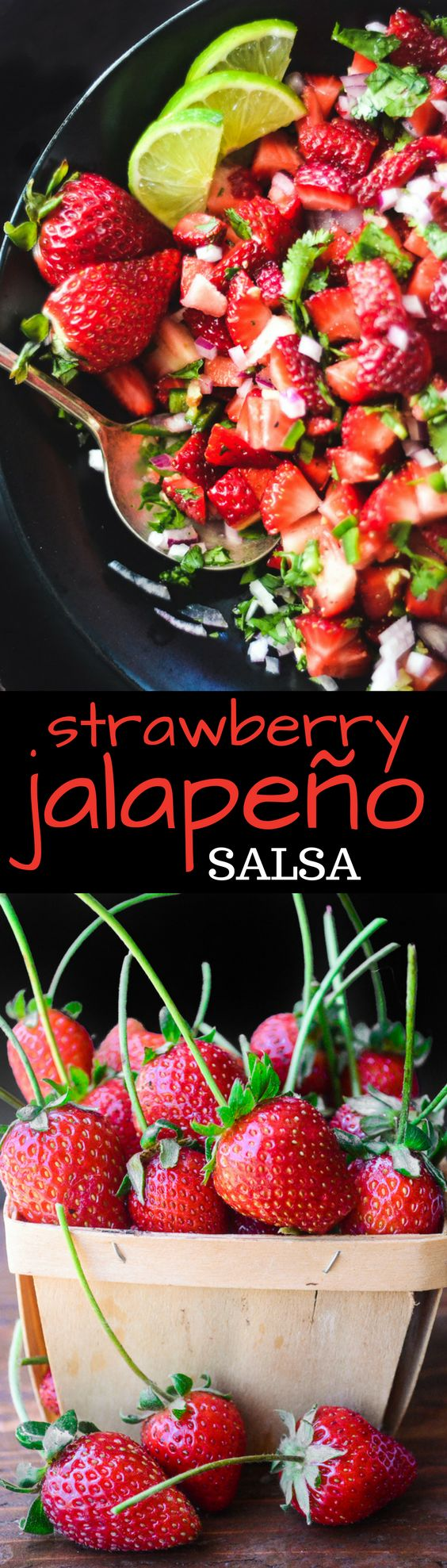 This Strawberry Jalapeno Salsa is really really good ~ juicy strawberries are tossed with lime, cilantro and finely minced red onion, with the added kick of jalapeño. You can use it on fish, tacos, chicken, meats, or just scoop it up with chips. It's the perfect spring appetizer!
