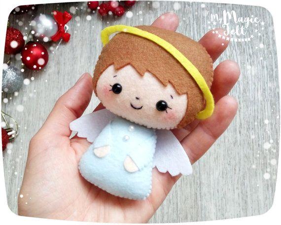 adornos navideos fieltro navidad angel set de por mymagicfelt