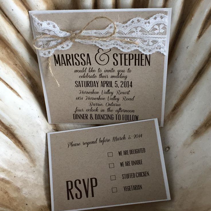 Lace wedding invitation. Rustic wedding perfection.