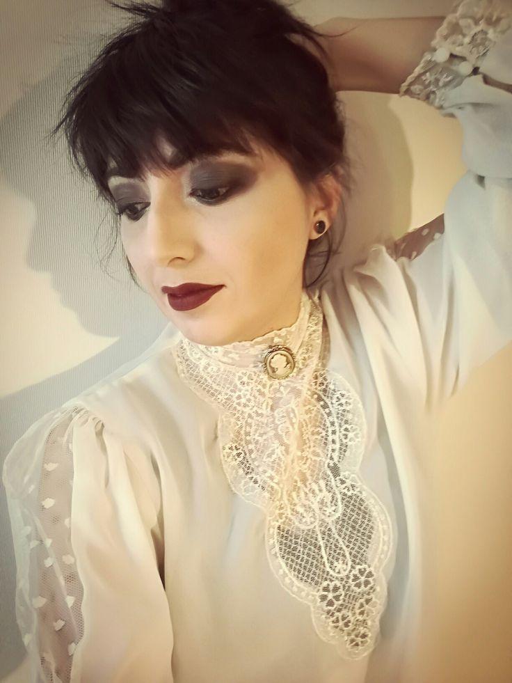 Victorian white goth. Smokey eyes