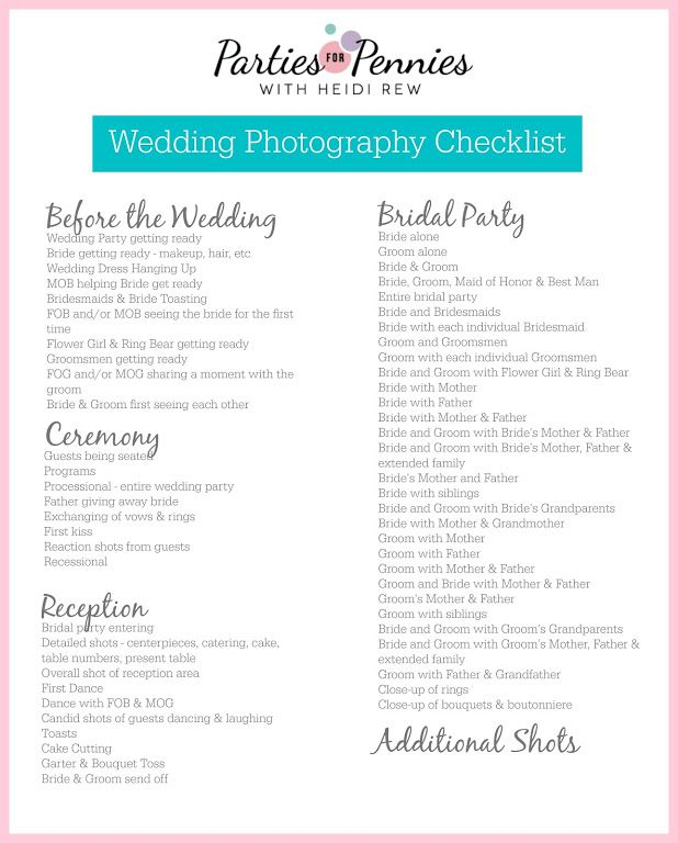 Wedding Photography Checklist: Wedding Photography Checklist By PartiesforPennies.com