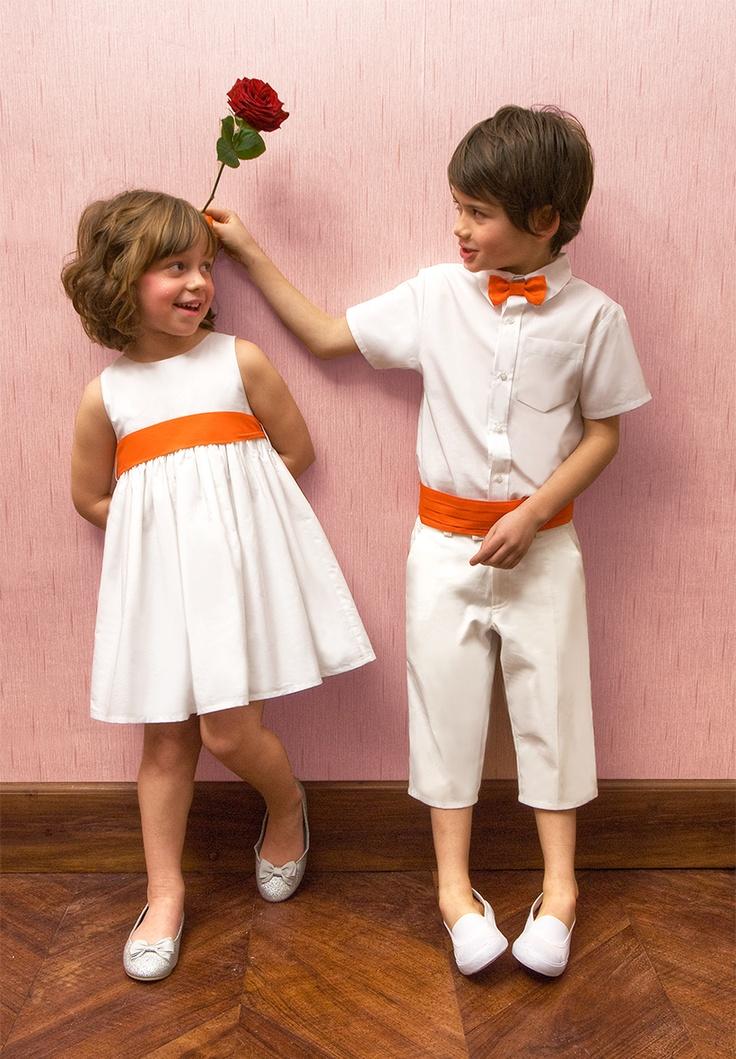 Ensemble cérémonie garçon et robe Julie, accessoires coloris orange