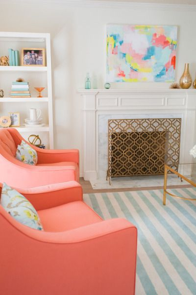 Coral furniture. Paint my couch. Coral, gold, white