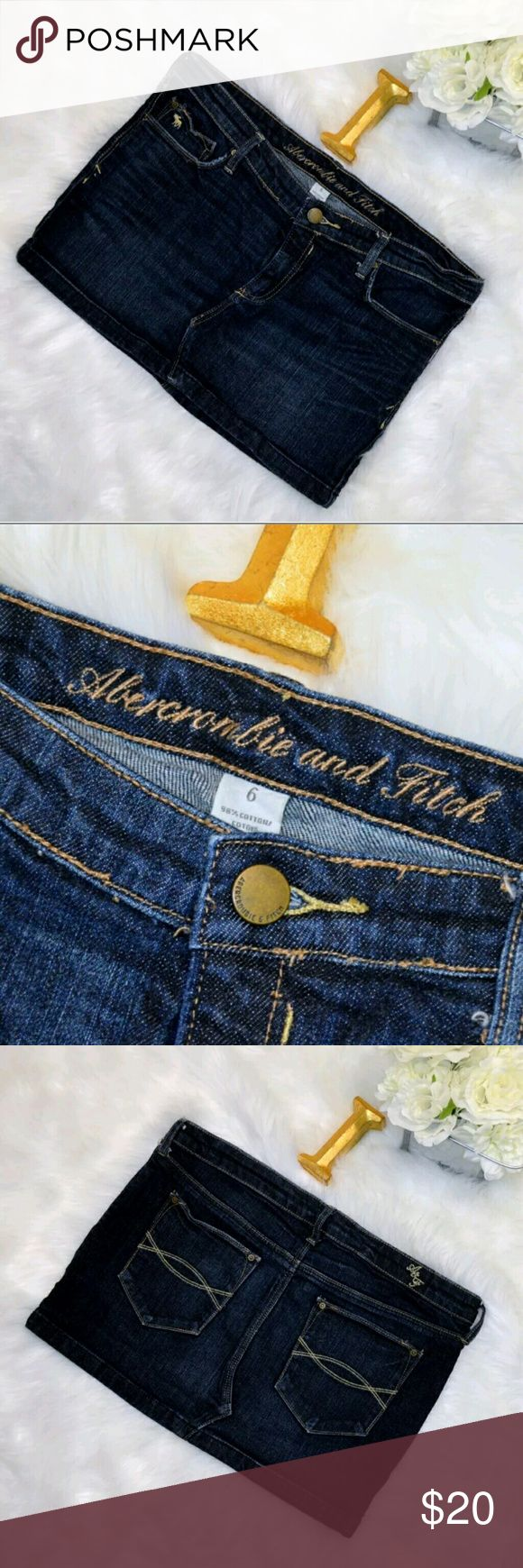 """Abercrombie and Fitch Jean Mini Skirt Size 6 Abercrombie and Fitch Size 6 L Jean Mini Skirt Dark Blue Wash Distressed Pockets Materials 98% Cotton, 2% Elastane Measurements ALL MEASUREMENTS TAKEN WHILE LAID FLAT Bottom hem: 17"""" Skirt Length from waist seam: 11"""" Waist: 16"""" ?No flaws? ?Offers are welcome? ?Will ship T-T-S After i ship the item I NO LONGER HAVE CONTROL of the time USPS takes to scan the packages, or If there are ANY DELAYS, LOST, OR LEFT AT PORCH items. Please be understanding…"""