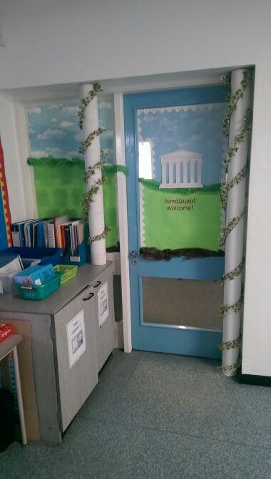 My ancient Greek classroom. Carpet roll tubes cut down (you'll need a saw) ahs painted white wrapped with false ivy.