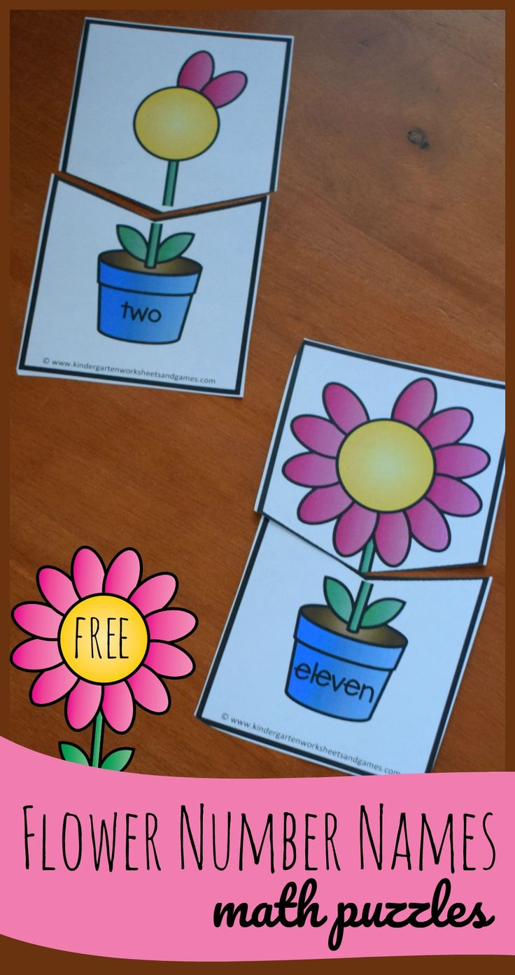 FREE Flower Number Names - these fun, hands on math puzzles are a great way for preschool, prek, kindergarten, and first graders to practice number words from 0-12 and counting at the same time. Perfect for math centers, spring activities, homeschool, home preschool, and summer learning