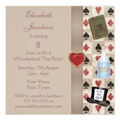 Alice in Wonderland Mad Hatter Tea Party 13 Cm X 13 Cm Square Invitation Card