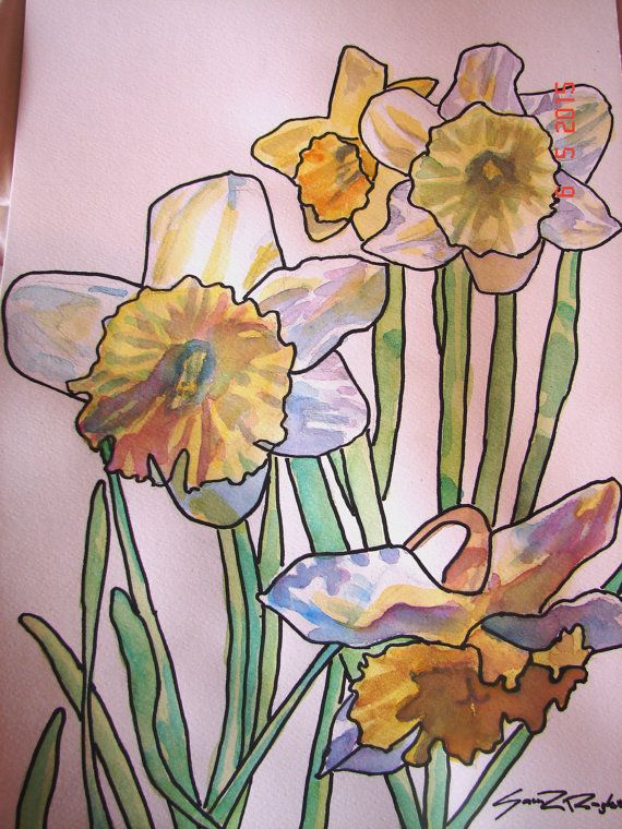 Daffodil Watercolour Flower Painting 'Frilly by RomanceandRoses