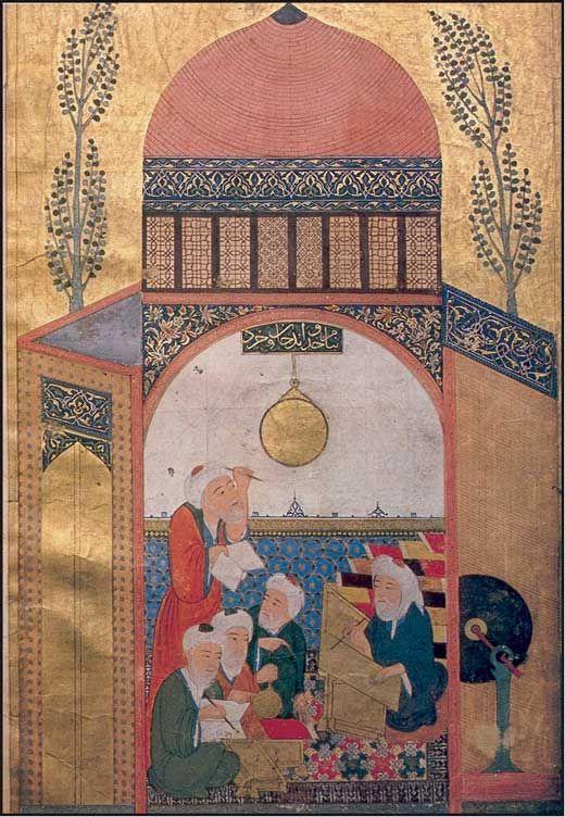Pendolo in una moschea, una miniatura che mostra degli studenti di astronomia con il loro insegnante, mentre leggono delle misure da un astrolabio. Tratta dal manoscritto persiano numero 1418 del XV secolo, Biblioteca Universitaria di Istanbul, Turchia.