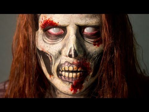 Zombie SFX makeup video tutorial & ideas / Looks great paired with Frosty-eyed zombie contacts => http://www.pinterest.com/pin/350717889705763104/