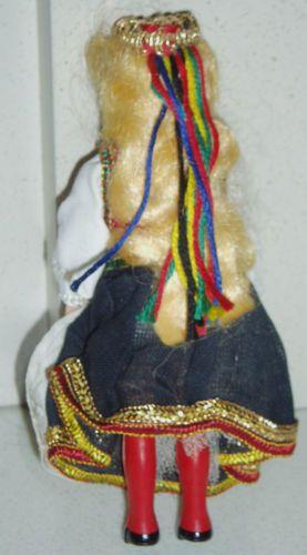Vintage-1950s-Small-Hard-Plastic-Norwegian-Costume-Doll-Hardanger-Norway