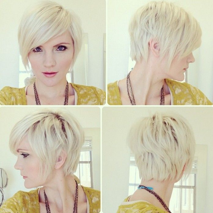 Platinum Layered Pixie with Length at the Nape. I don't think I could do it, but it's just so cute.