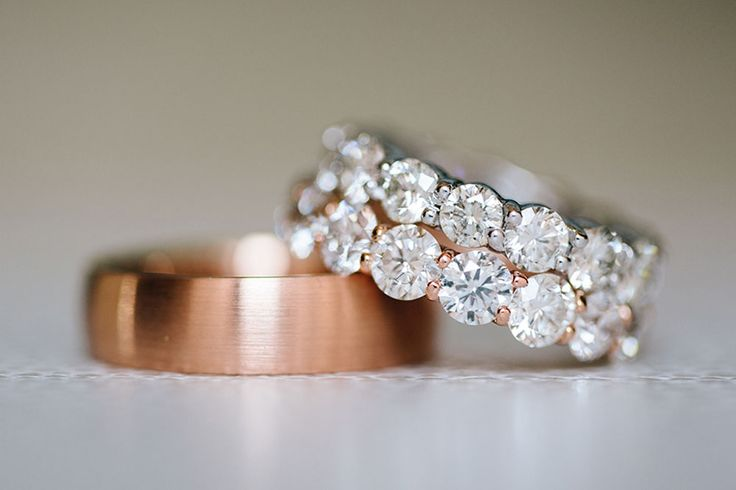 Copper wedding band for him + double diamond band for her <3