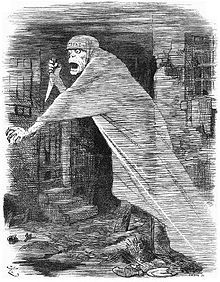 The 'Nemesis of Neglect': Jack the Ripper depicted as a phantom stalking Whitechapel, and as an embodiment of social neglect, in a Punch cartoon of 1888