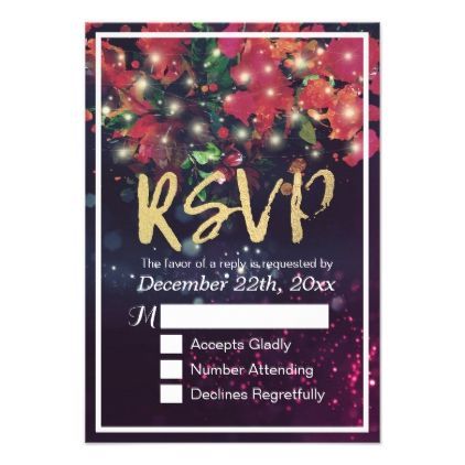 Floral String Light Gold Script Wedding RSVP Reply Card - reply diy cyo unique personalize customize