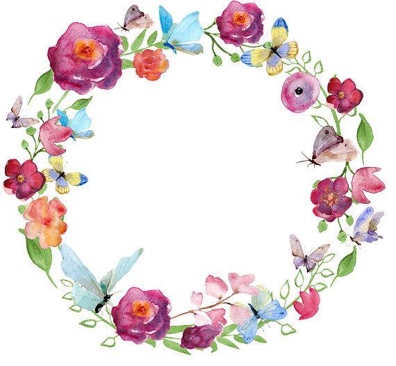 Flores y mariposas Clipart acuarela corona guirnalda
