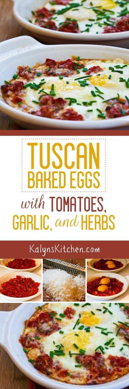 Tuscan Baked Eggs with Tomatoes, Red Onion, Garlic, Parmesan, and Herbs are an easy and delicious breakfast that's low-carb, gluten-free, and South Beach Diet friendly. [found on KalynsKitchen.com]