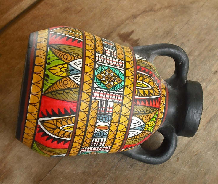 Vintage Clay Pottery Vase with Handles Black Hand Painted ...