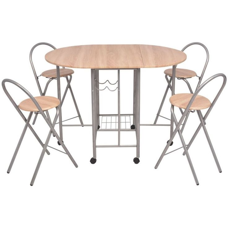 Breakfast Bar Table Set Kitchen Round Dining Room 5 Pcs Folding Storage Rolling #BreakfastBarTableSet