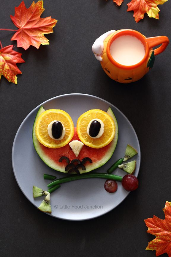 Une chouette idée de dessert :D #kiri #recette #Kids #food #fun #rigolo #hiboux #cute #fun #food #art #fruit #chouette #animaux