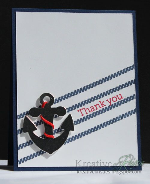 handmade thank you card from Kreative Kristie ... clean and simple ... diagonal line format ... ocean them with rope lines and focal point anchor ... black and white with pops of red ... like it!!