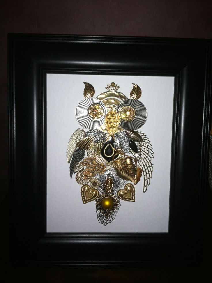 costume owl craft art out of recycled old jewelry