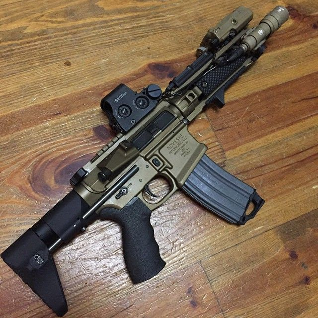 Collapsed and un-suppressed. Noveske/AAC .300 Blackout with MVB ARC PWD Stock