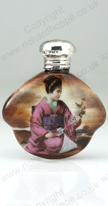 ANTIQUE 1904 PORCELAIN SCENT PERFUME BOTTLE WITH GEISHA, SILVER TOP. http://www.richardhoppe.co.uk