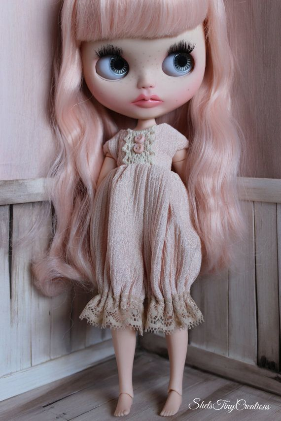 Pretty In Peach Romper for Blythe Outfit by ShelsTinyCreations