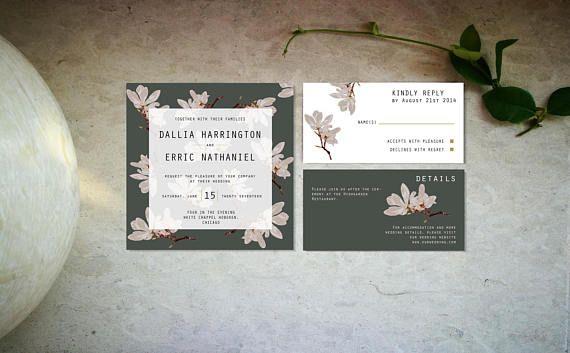 Minimal magnolia wedding invitation template Digital dark